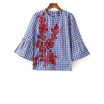 Round Neck Flare Sleeve Checked Embroidered Blouse