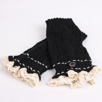 Pair of Button Lace Edge Hollow Out Leaf Knitted Boot Cuffs -  BLACK