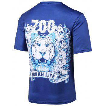 Plus Size Tiger and Letter Print Round Neck Short Sleeve T-Shirt - BLUE XL
