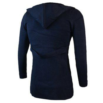 Pockets Design Turn-Down Collar Knit Blends Cardigan - CADETBLUE CADETBLUE
