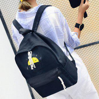 Letter Printed Preppy Style Canvas Backpack - BLACK