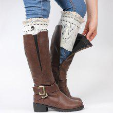 Pair of Button Lace Edge Hollow Out Leaf Knitted Boot Cuffs