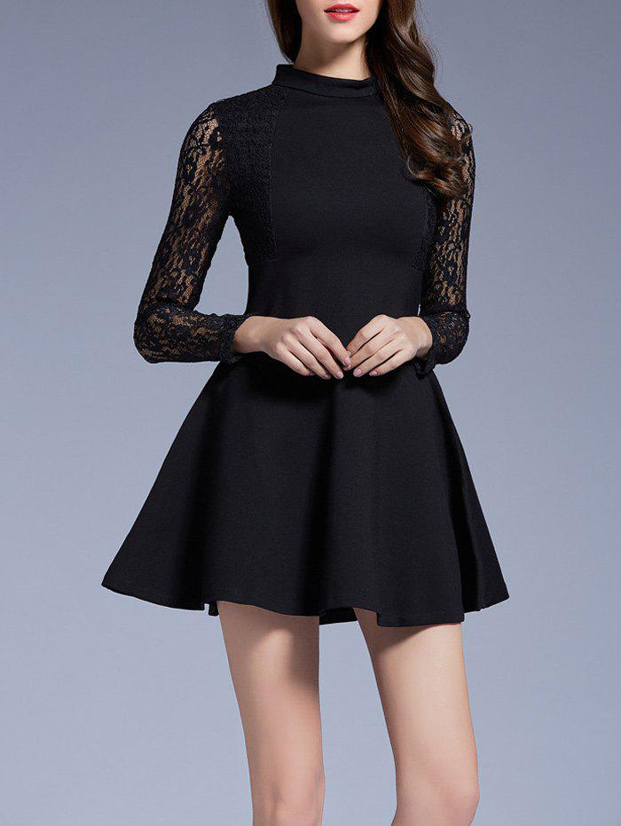 Long Sleeves Lace See-Through Dress - BLACK M