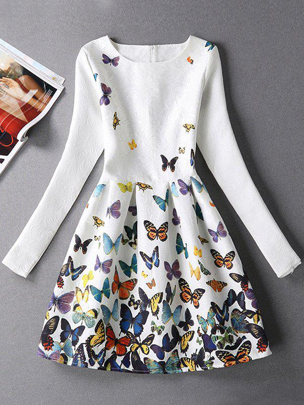 Jacquard Butterfly Skater Dress with Sleeves floral jacquard pleated white skater tank dress