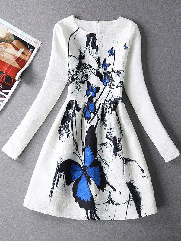 Long Sleeves Textured Dress with Butterfly Print - WHITE M