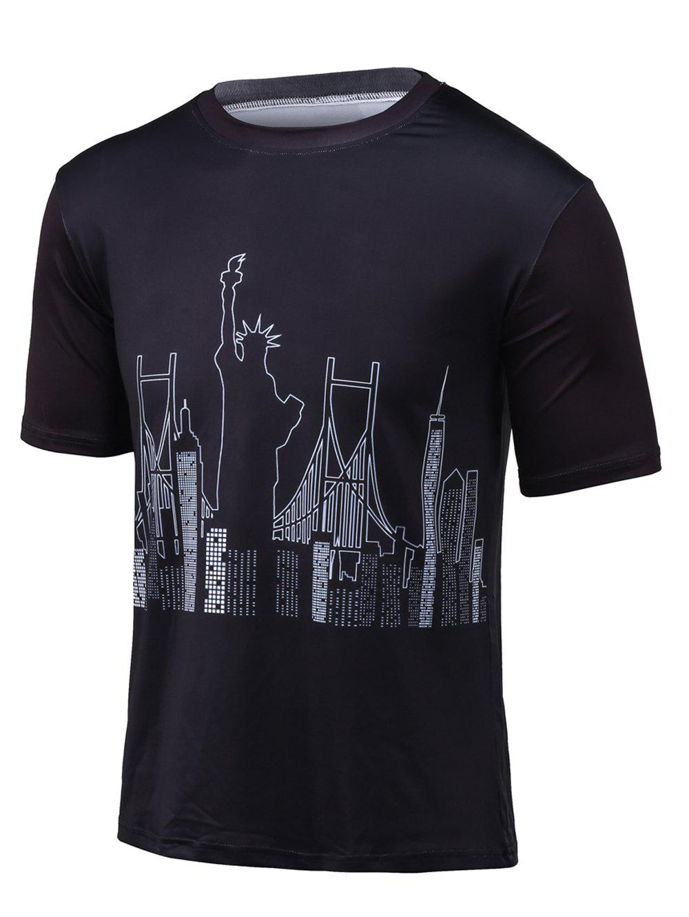 Statue of Liberty Print Round Neck Short Sleeve T-Shirt - BLACK L