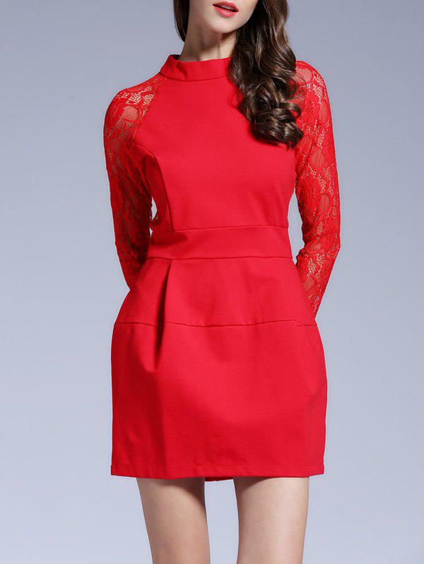 Raglan Sleeves Lace See-Through Dress - RED XL