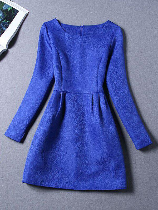 Long Sleeves Jacquard Cocktail Short Skater Dress - ROYAL BLUE S