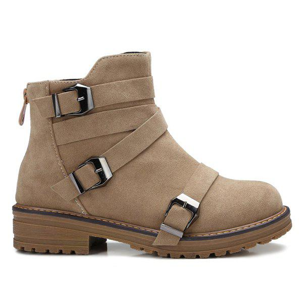 Buy Zipper Buckles Cross Straps Ankle Boots CAMEL