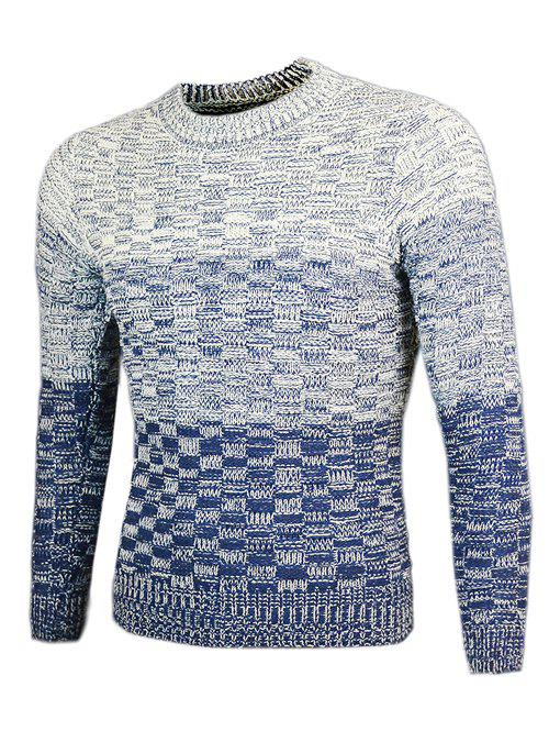 Knit Blends Round Neck Long Sleeve Ombre Sweater - CADETBLUE M