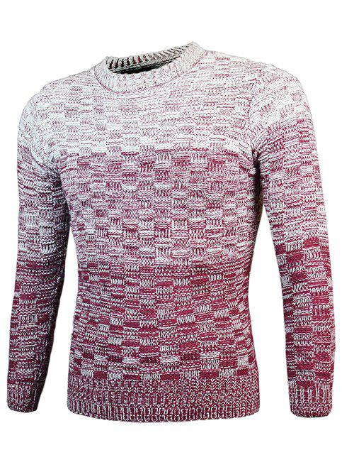 Knit Blends Round Neck Long Sleeve Ombre Sweater - WINE RED M
