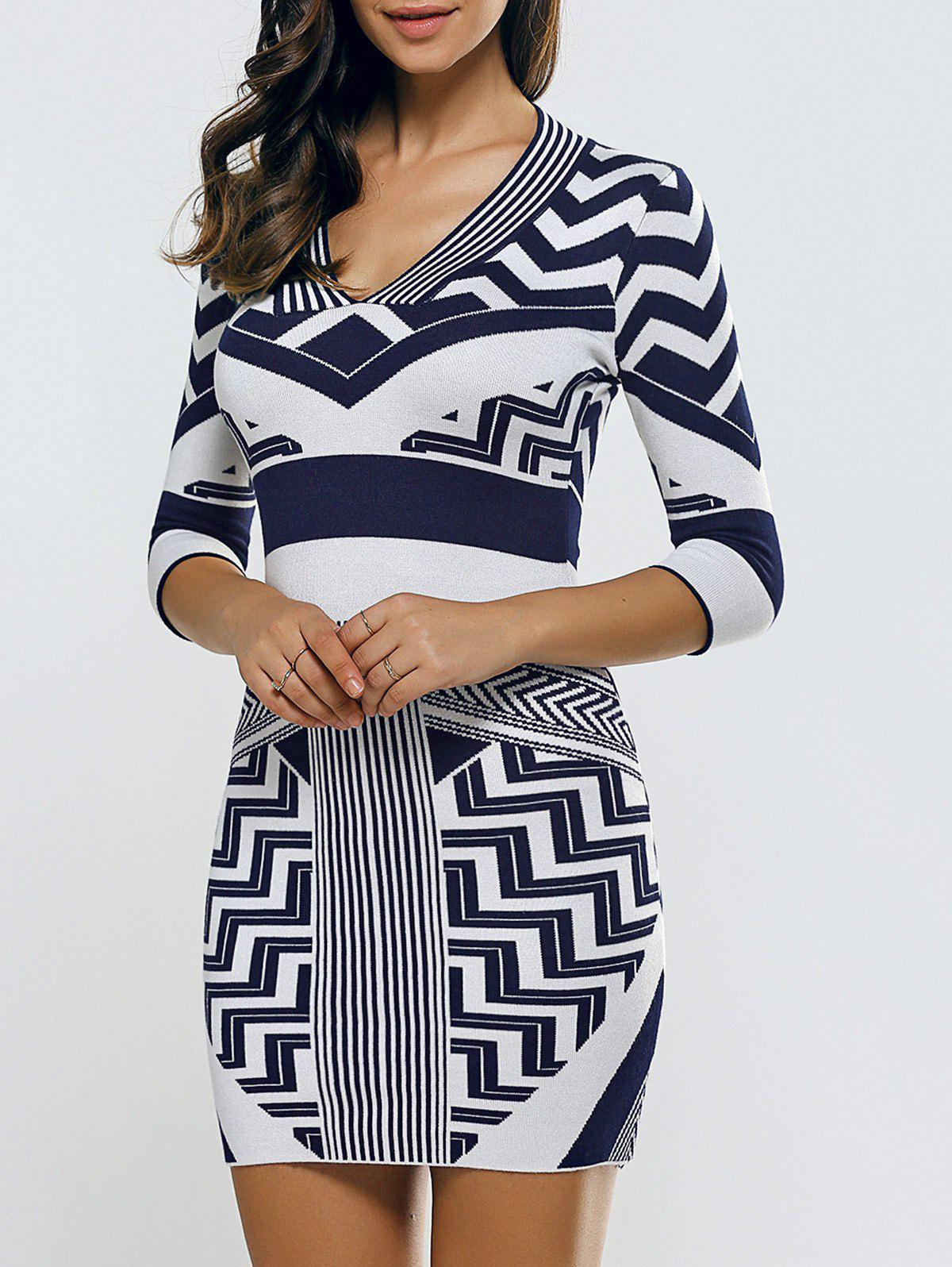 V Neck Chervon Stripe Bodycon Sweater Dress - Bleu Violet ONE SIZE