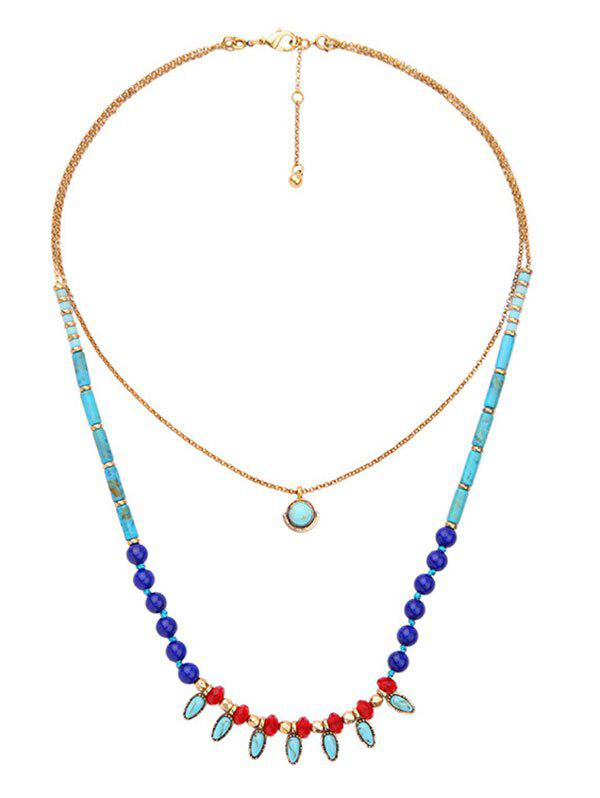 Layered Natural Stone Geometric NecklaceJewelry<br><br><br>Color: TURQUOISE