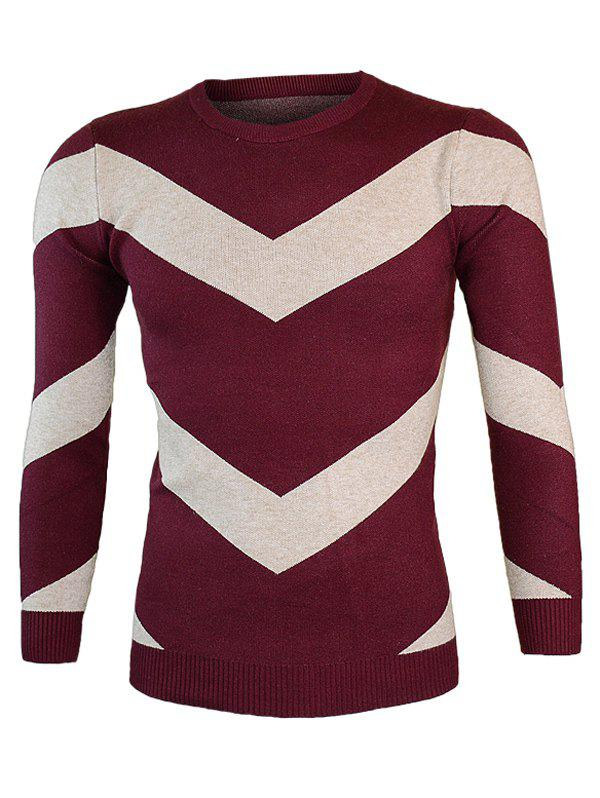 Color Block Round Neck Long Sleeve Waviness Sweater - WINE RED M