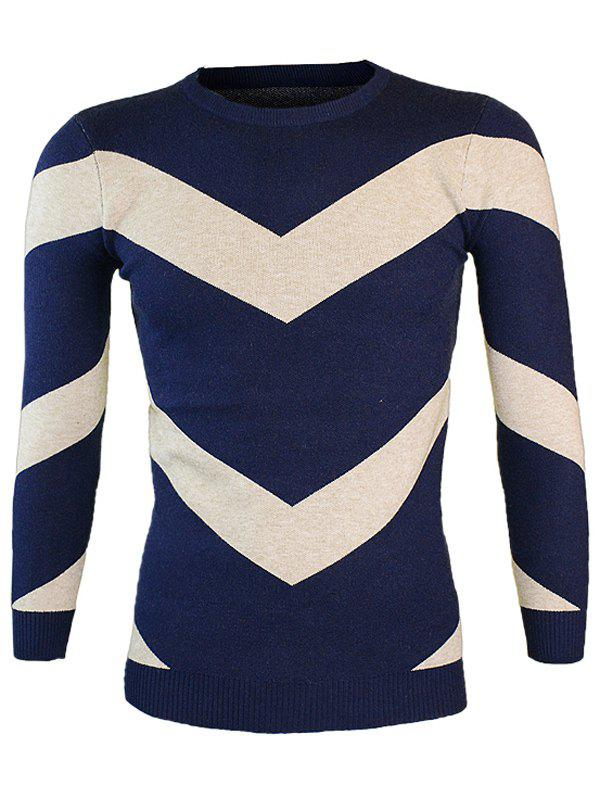 Neck Color Block rond manches longues Ondulation Sweater - Cadetblue M