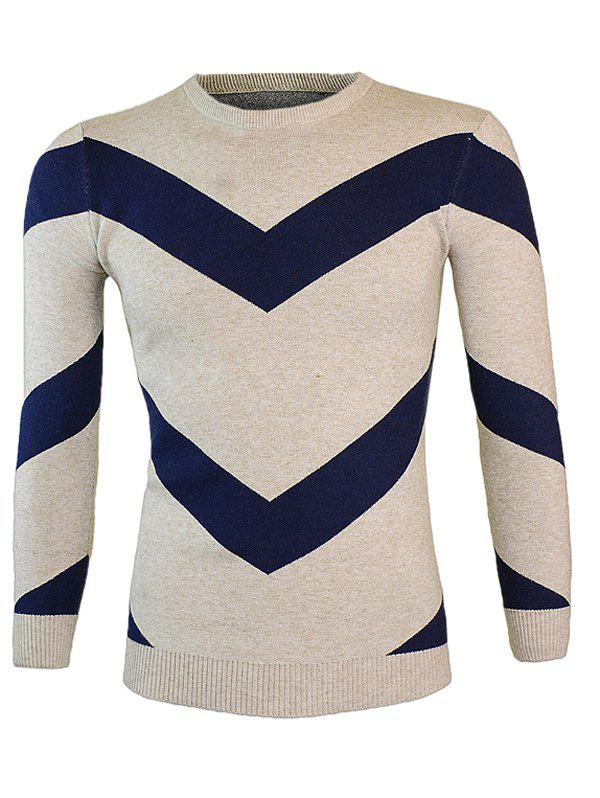 Color Block Round Neck Long Sleeve Waviness Sweater