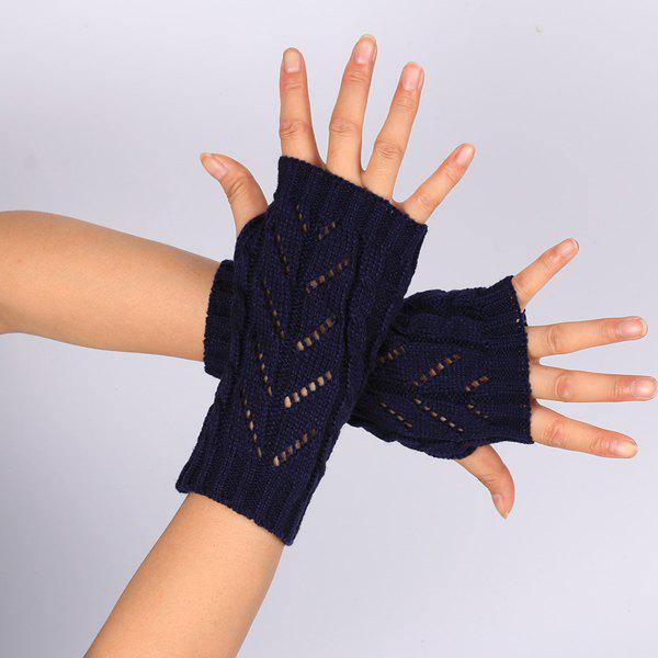 Pair of Hollow Out Chevron Crochet Knitted Fingerless Gloves - PURPLISH BLUE