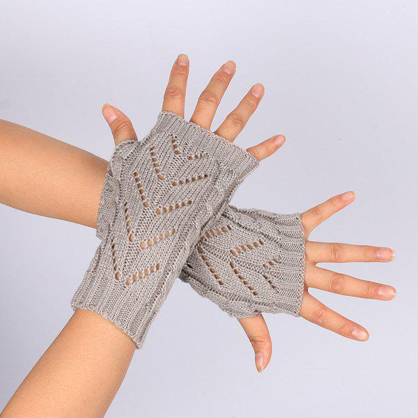 Pair of Hollow Out Chevron Crochet Knitted Fingerless Gloves - LIGHT GRAY