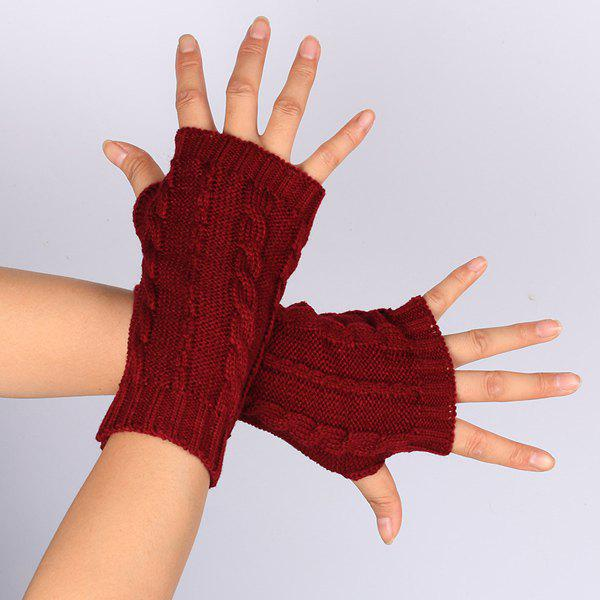 Pair of Hemp Flowers Crochet Knitted Fingerless Gloves - WINE RED