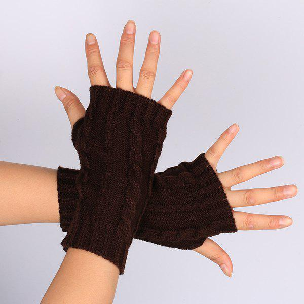 Pair of Hemp Flowers Crochet Knitted Fingerless Gloves - DARK COFFEE