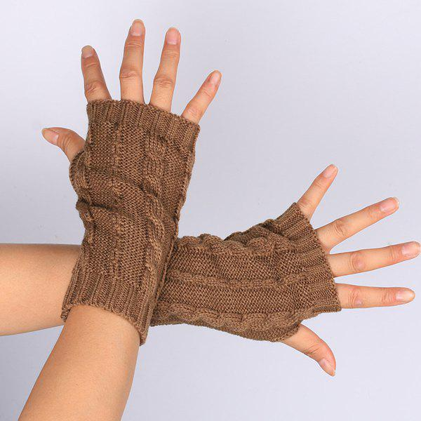 Pair of Hemp Flowers Crochet Knitted Fingerless Gloves - COFFEE