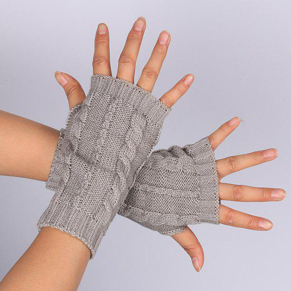 Pair of Hemp Flowers Crochet Knitted Fingerless Gloves - LIGHT GRAY