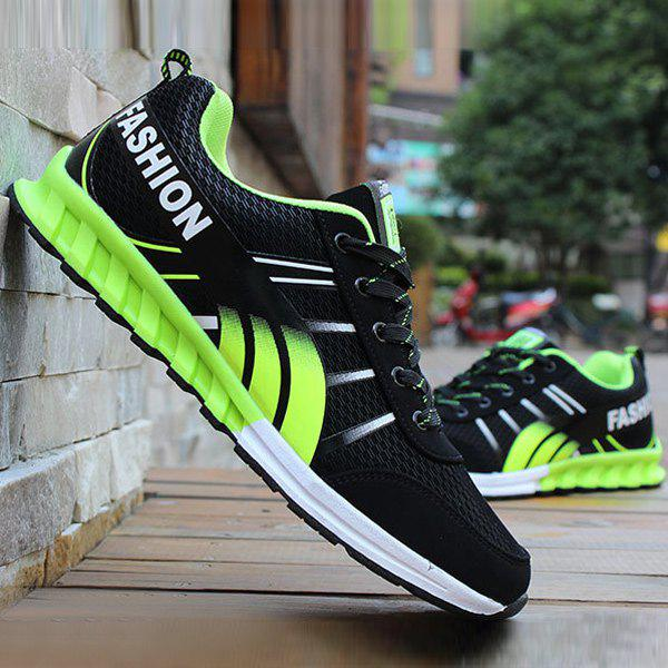 Lace-Up Color Block Letter Pattern Athletic Shoes - BLACK/GREEN 40
