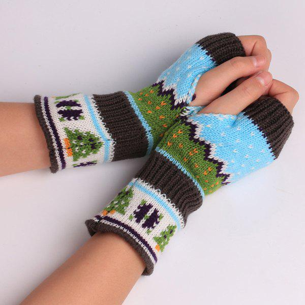 Pair of Christmas Tree Snow Crochet Knitted Fingerless Gloves - LIGHT BLUE