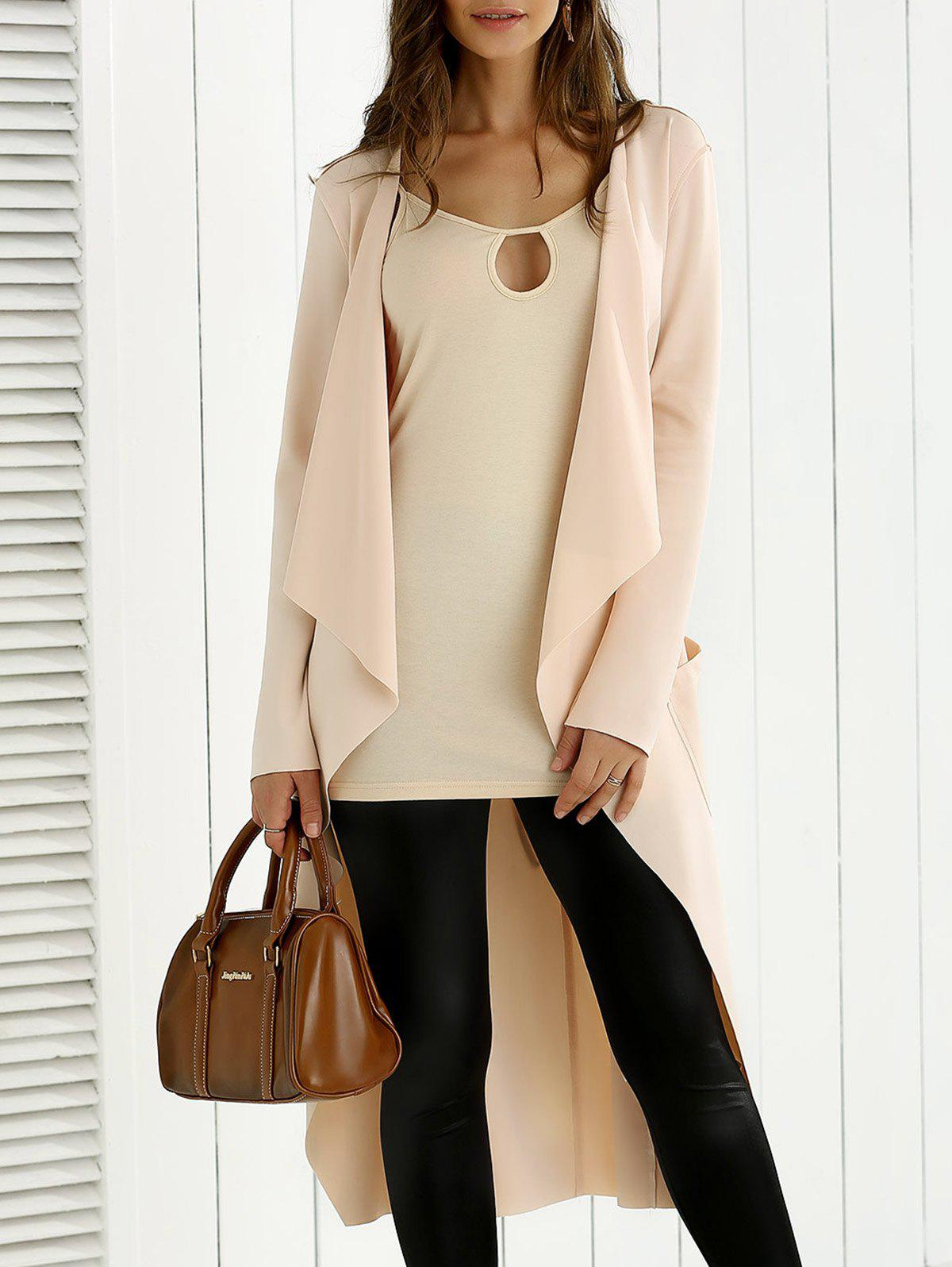 Tie Back Asymmetrical Trench Coat - APRICOT XL