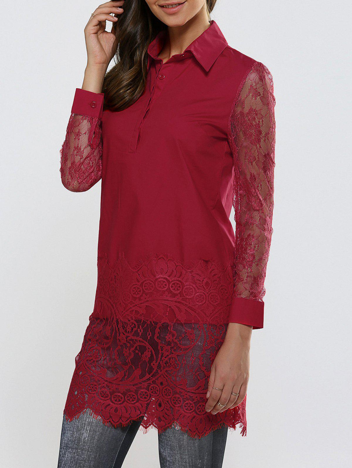 Sheer Lace Panel Long Sleeve Scalloped Shirt - DEEP RED XL