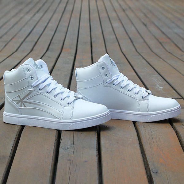 Tie Up PU Leather Colour Splicing Casual Shoes - WHITE 42