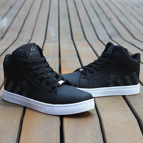 Tie Up Color Splicing Striped Pattern Casual Shoes - BLACK 40