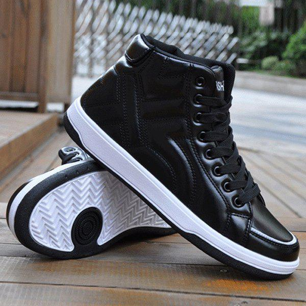 Tie Up PU Leather Stitching Casual ShoesShoes<br><br><br>Size: 40<br>Color: BLACK