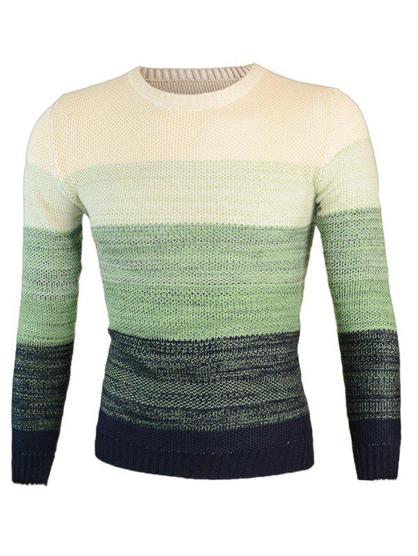Knitting Round Neck Long Sleeve Ombre Sweater - GREEN M