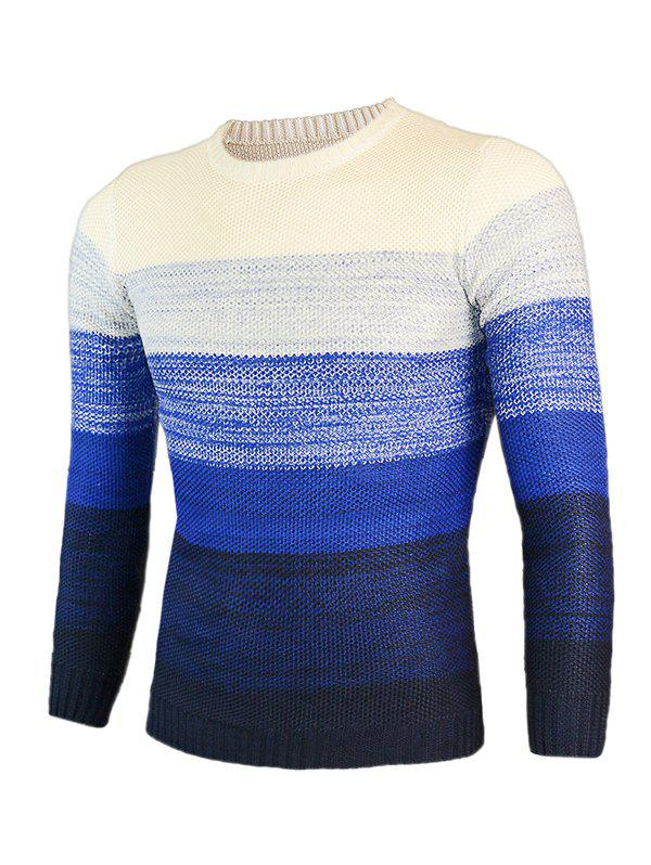 Knitting Round Neck Long Sleeve Ombre Sweater - BLUE M