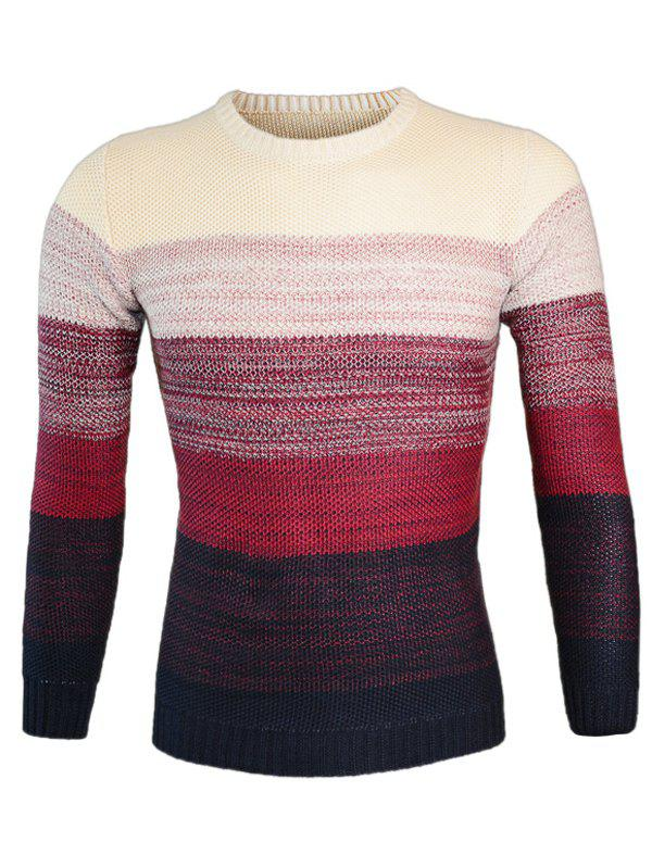 Knitting Round Neck Long Sleeve Ombre SweaterMen<br><br><br>Size: XL<br>Color: WINE RED