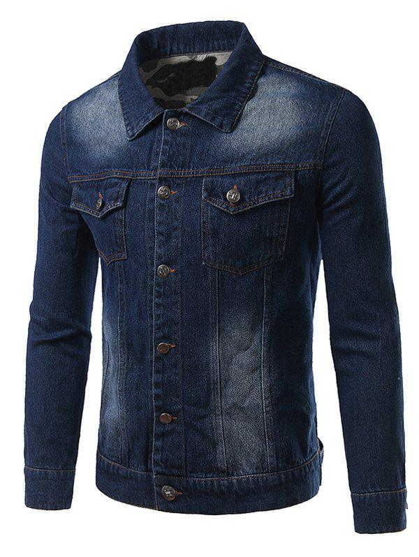 Camouflage Hemming Plus Size Turn-Down Collar Single-Breasted Denim JacketMen<br><br><br>Size: XL<br>Color: DEEP BLUE