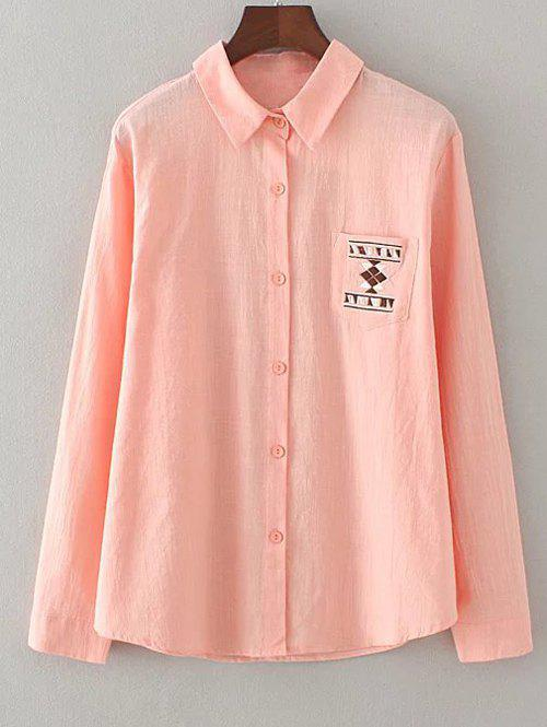 Geometric Embroidery Loose Shirt - SHALLOW PINK XL