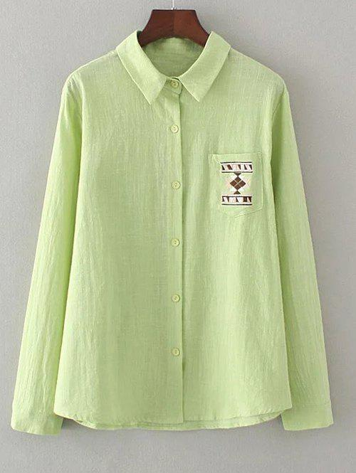 Geometric Embroidery Loose Shirt - GRASS GREEN 3XL
