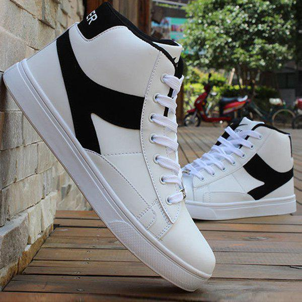 Faux Leather Color Block Casual Shoes - WHITE/BLACK 41