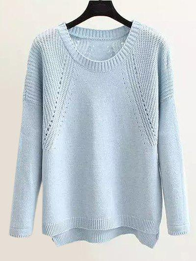Loose Openwork  High Low Hem Sweater - LIGHT BLUE ONE SIZE