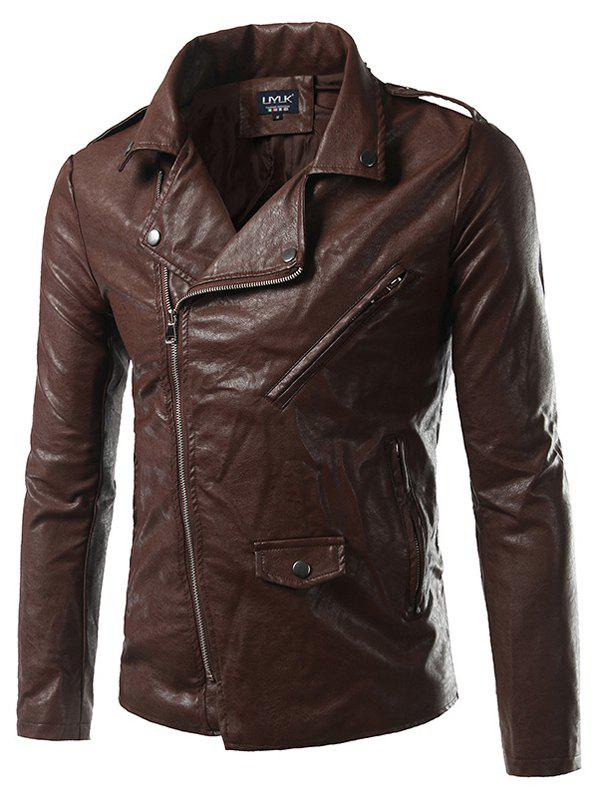 Epaulet Design PU-Leather Plus Size Turn-Down Collar Zip-Up Jacket pu leather and corduroy spliced zip up down jacket