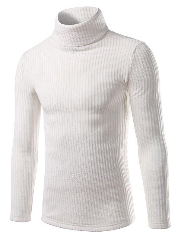 Vertical Rib Turtle Neck Long Sleeve Sweater 194139301