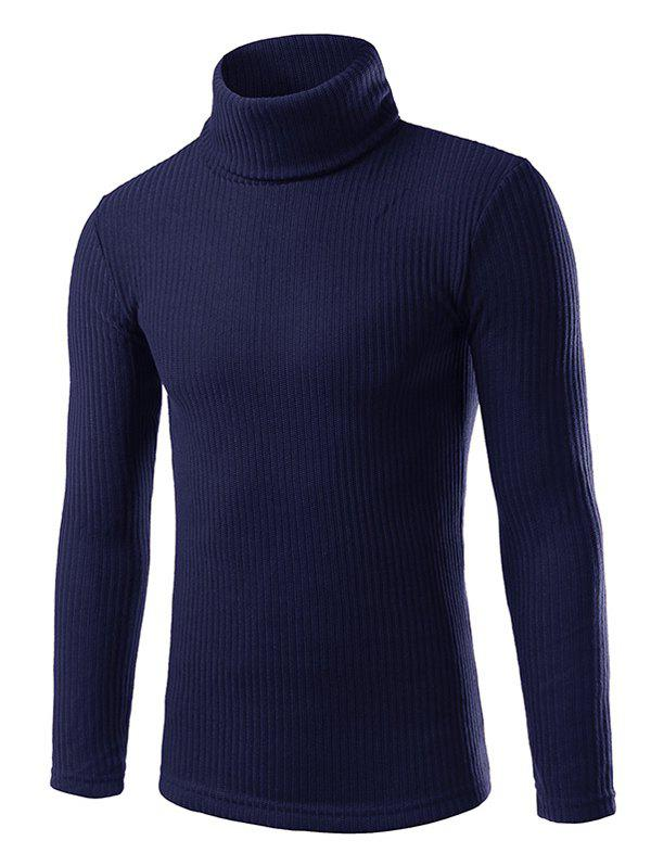Vertical Rib Turtle Neck Long Sleeve Sweater 194139309