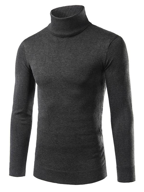 Rib Splicing Turtle Neck Long Sleeve Cotton Blends Sweater 194143020