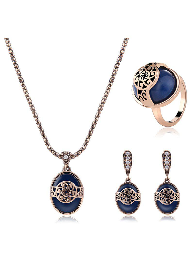 Faux Sapphire Engraved Floral Jewelry Set faux turquoise cow engraved jewelry set