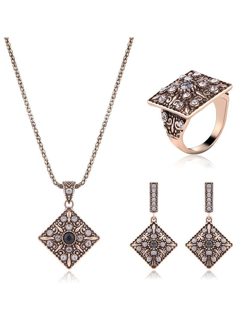 Alloy Rhinestone Geometric Jewelry Set rhinestone alloy pendant jewelry set