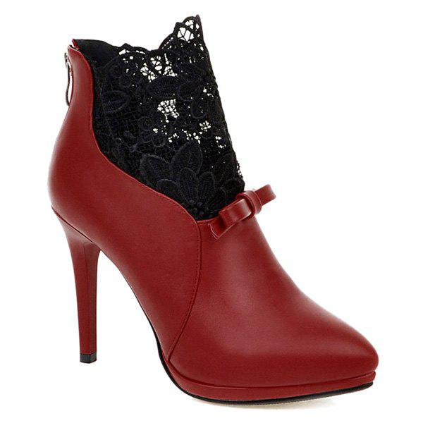 Zipper Splicing Embroidey Ankle Boots - RED 43