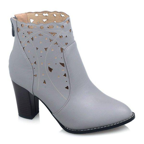 Chunky Heel Hollow Out Zipper Ankle Boots - GRAY 43