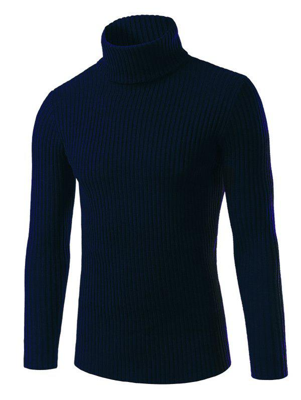 Vertical Whorl Turtle Neck Long Sleeve Sweater 194146024